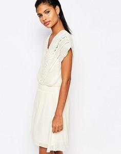 Платье с присборенной талией и вышивкой Moon River - Кремовый