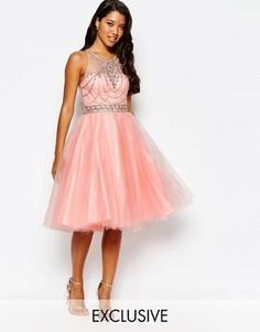 Платье для выпускного с отделкой и юбкой из тюля Forever Unique - Розовый
