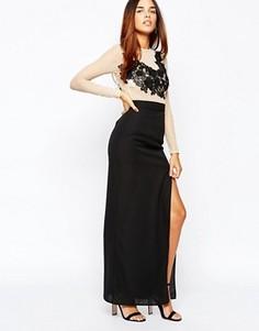 Платье макси с разрезом на юбке Elise Ryan - Черный