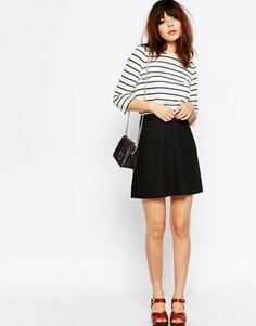 Льняная юбка-трапеция с карманом ASOS - Черный