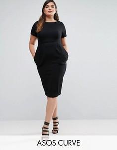 Облегающее фактурное платье миди ASOS CURVE - Черный