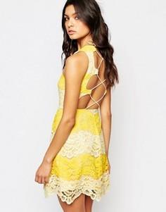 Кружевное платье мини с контрастной отделкой и шнуровкой на спине Foxiedox Mona - Желтый