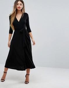Платье миди из крепа с запахом ASOS - Черный