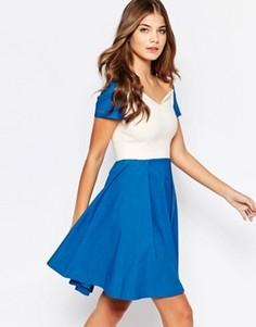 Приталенное платье миди со свободной юбкой Vesper Sherry - Синий