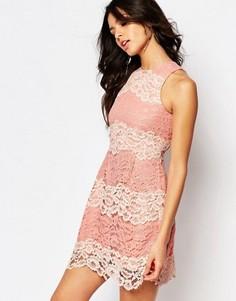Кружевное платье мини с контрастной отделкой и шнуровкой на спине Foxiedox Mona - Розовый