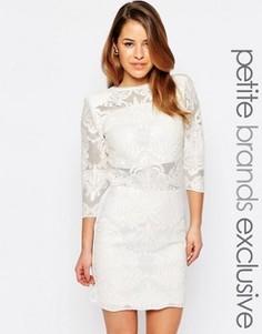 Сетчатое платье мини с пайетками глубоким вырезом на спинке John Zack Petite - Белый