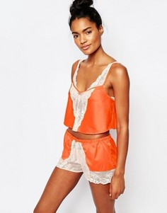 Атласный пижамный топ Emporio Armani Pop - Оранжевый