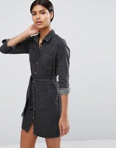 Джинсовое платье-рубашка с поясом ASOS - Черный