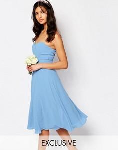 Платье миди для выпускного TFNC WEDDING - Синий
