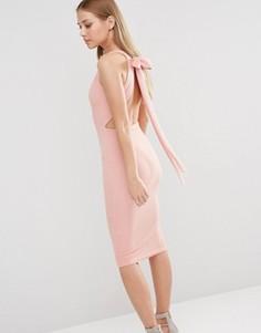 Платье миди с глубоким вырезом и бантиком сзади Oh My Love - Розовый