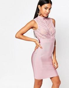 Бандажное облегающее платье с кружевным лифом WOW Couture - Розовый