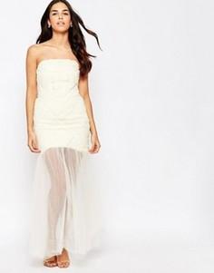 Платье-бандо с шифоновым верхним слоем макси Jarlo - Кремовый
