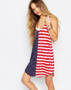 Платье-майка с открытой спиной и принтом в цветах американского флага Vans - Мульти