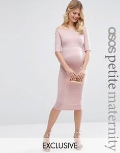 Платье для беременных с укороченными рукавами ASOS Maternity PETITE - Розовый