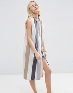 Полосатое платье миди на молнии ASOS WHITE - Мульти