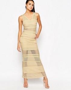 Бандажное платье с сетчатыми вставками WOW Couture - Бежевый