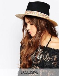 Соломенная шляпа с контрастным черным верхом Catarzi - Бежевый