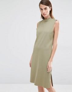 Цельнокройное платье с высокой горловиной Selected Coda - Зеленый
