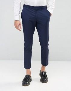 Укороченные зауженные брюки стретч Selected Homme - Темно-синий