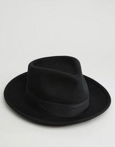 Мягкая фетровая шляпа с широкими полями Brixton - Черный