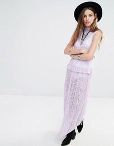 Кружевное платье макси без рукавов с высокой горловиной Rokoko - Фиолетовый