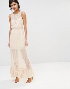 Платье макси с прозрачными вставками и кромкой‑оборкой Vero Moda - Белый