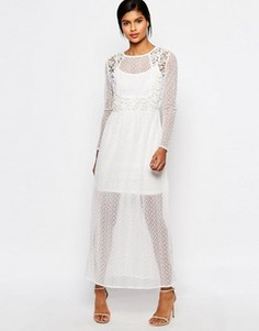 Платье макси из полупрозрачного кружева Vero Moda - Белый