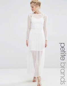 Платье макси из прозрачного кружева Vero Moda Petite - Белый
