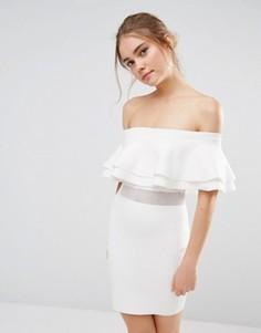 Вязаное платье мини в рубчик с сетчатой вставкой Endless Rose - Белый