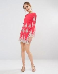 Кружевное платье мини с длинными рукавами Endless Rose - Розовый