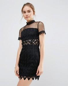 Кружевное платье мини с высокой горловиной Endless Rose - Черный