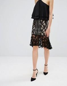 Кружевная юбка миди с оборкой по краю Endless Rose - Черный
