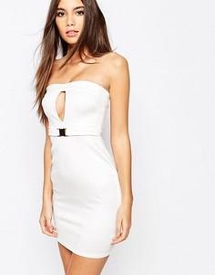 Облегающее платье‑бандо с вырезами Oh My Love - Кремовый