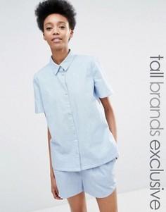 Рубашка из шамбре с короткими рукавами Adpt Tall - Синий