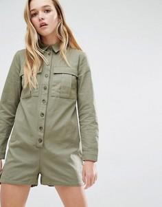 Комбинезон в стиле милитари с карманами Daisy Street - Зеленый