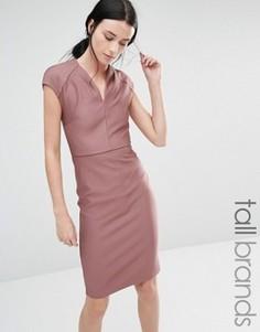 Облегающее платье в рубчик Y.A.S Tall Julius - Розовый
