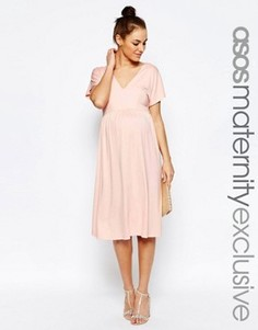 Платье миди для беременных с рукавом-бабочкой ASOS Maternity - Розовый