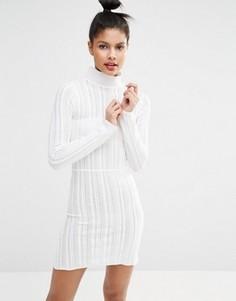 Трикотажное платье с высоким воротом Sonia By Sonia Rykiel - Белый