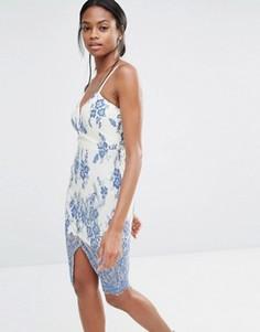 Платье с разрезом спереди и цветочным принтом Missguided - Синий