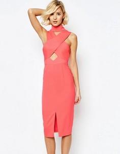 Платье миди с высоким воротом, вырезами и разрезом Lavish Alice - Розовый