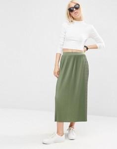 Плиссированная трикотажная юбка миди ASOS - Зеленый