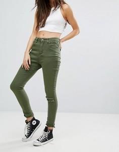 Рваные облегающие джинсы Liquor & Poker - Зеленый