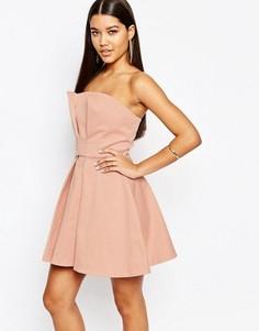 Платье мини для выпускного с лифом-бандо AQ/AQ - Розовый