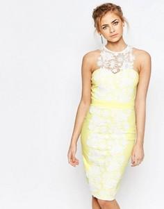 Платье-футляр с кружевной вставкой Paper Dolls - Желтый