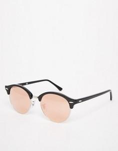 Розово-золотистые круглые солнцезащитные очки Клабмастер Ray‑Ban - Черный