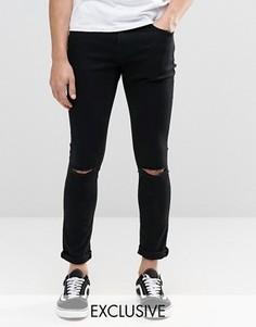 Черные суперзауженные джинсы с разрезами на коленях Brooklyn Supply Co Dyker - Черный