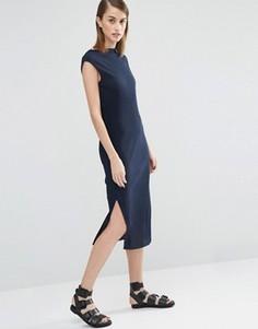 Плиссированное платье миди Selected Keba - Темно-синий