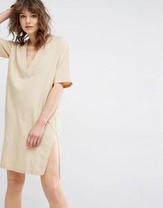 Платье с V-образным вырезом Samsoe & Samsoe Sami Safari - Бежевый