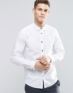 Белая рубашка классического кроя с длинными рукавами и контрастными пуговицами ASOS - Белый
