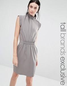Платье-футляр с высокой горловиной и отделкой на талии Y.A.S Tall Josefine - Серый